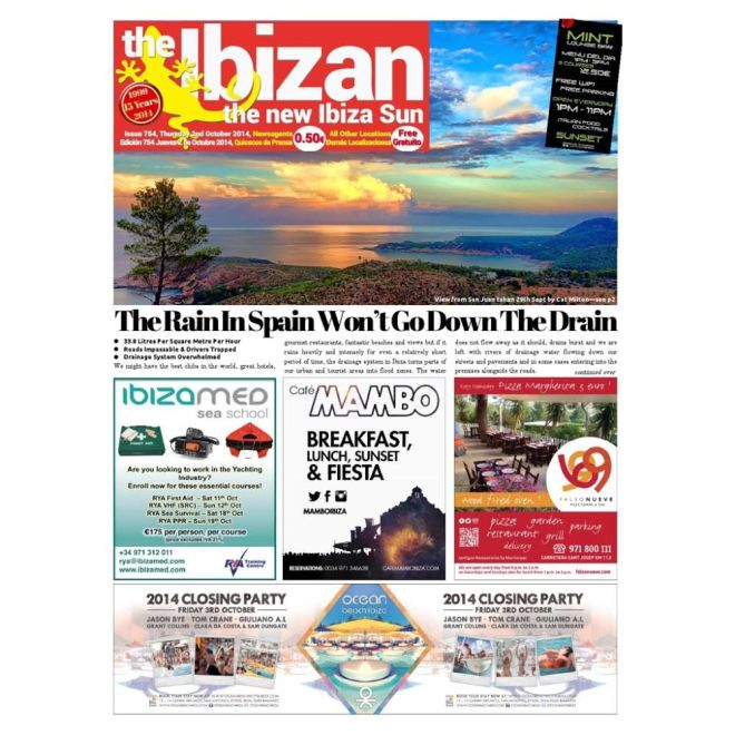iPhone image by Cat Milton graces the cover of The Ibizan newspaper