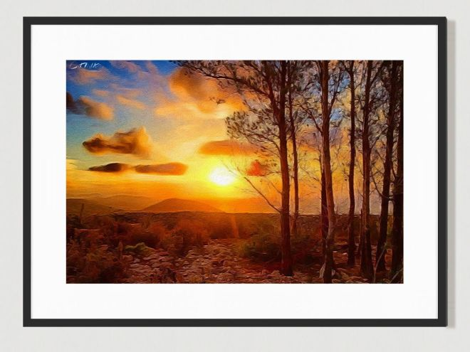 Ibizan sunset. Limited Edition print by Cat Milton