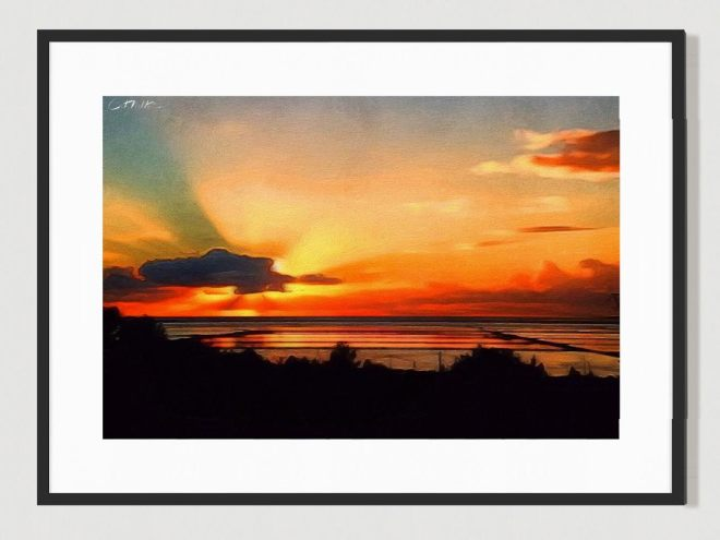 Salinas Sunset, Ibiza. Limited Edition print by Cat Milton